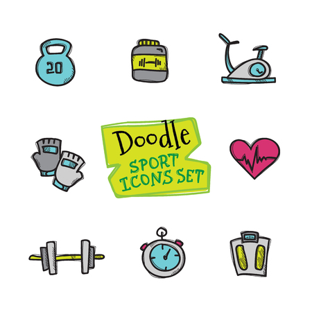 biking glove: Vector doodle style line icons sport set. Cute hand drawn collection of sport objects