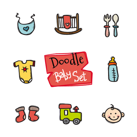 romper: Vector doodle style baby icons set. Cute hand drawn collection of kids objects