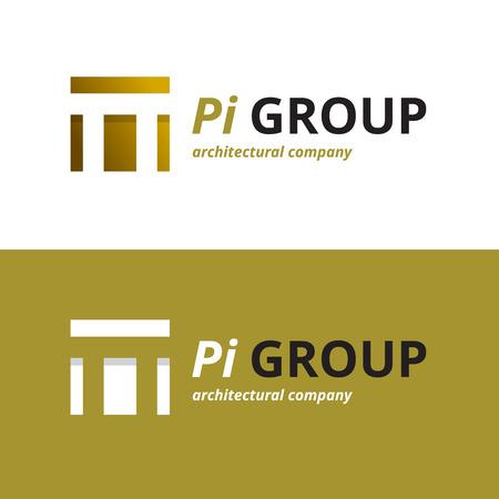 Vector minimalistic negative space greek letter logo. Pi letter symbol