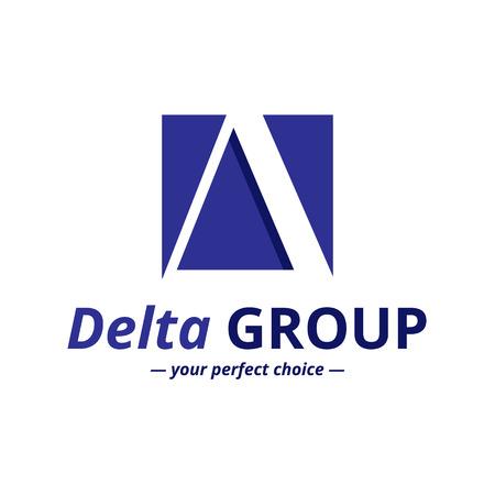 Vector minimalistic negative space greek letter logo. Delta letter symbol