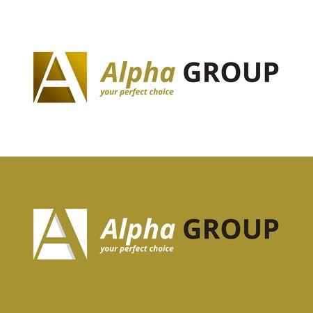 alpha: Vector minimalistic negative space greek letter logo. Alpha letter symbol