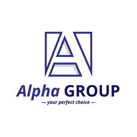 minimalistic: Vector minimalistic negative space greek letter logo. Alpha letter symbol