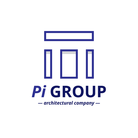 pi: Vector minimalistic negative space greek letter logo. Pi letter symbol