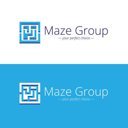 conundrum: Vector minimalistic maze logo. Labyrinth geometric symbol