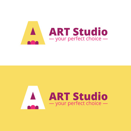 negative space: Vector minimalistic art studio logo. Negative space pencil and A letter logo
