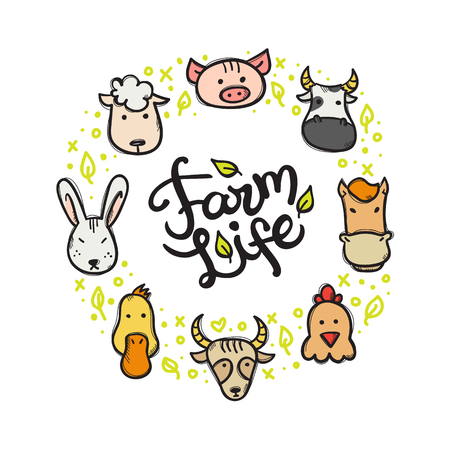 hand lettered: Vector modern farm animals doodle style circle frame with hand lettered inscription Illustration