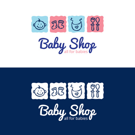 Vector cute baby shop in doodle style. Kids store