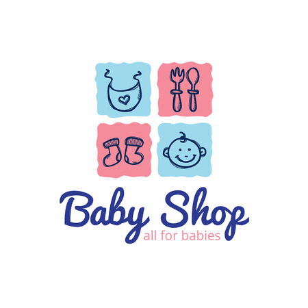 Vector cute baby shop icon in doodle style. Kids store Illustration