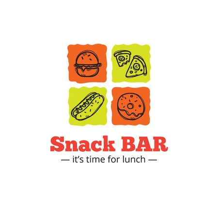 snack bar: Vector trendy snack bar icon in doodle style.