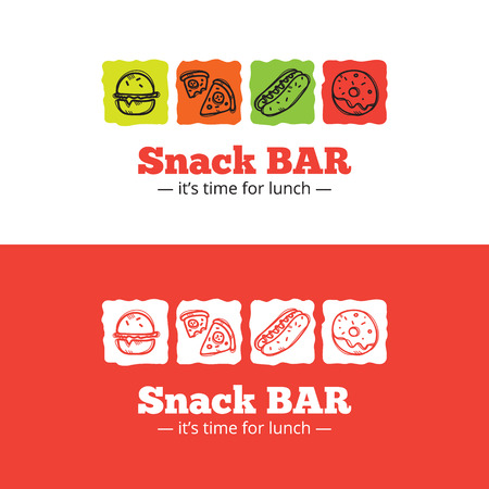 Vector trendy snack bar icon in doodle style. Sketchy cafe icon  イラスト・ベクター素材