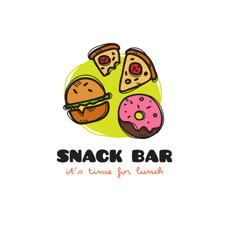 snack bar: Vector funny cartoon style snack bar icon with burger, pizza and donut. Sketchy doodle cafe icon