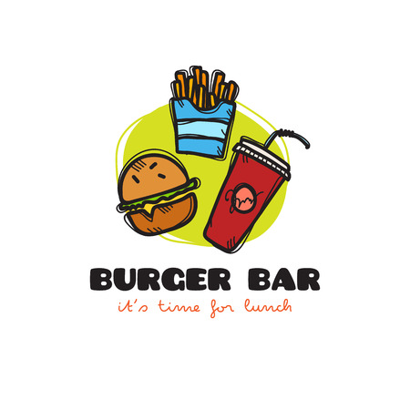 burger and fries: Vector funny cartoon style snack bar icon with burger, fries and soda. Sketchy doodle cafe icon
