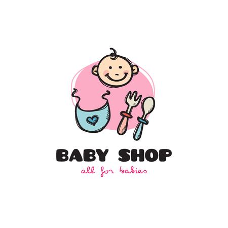 burp: Vector funny cartoon style baby shop icon. Sketchy doodle baby accessories store icon