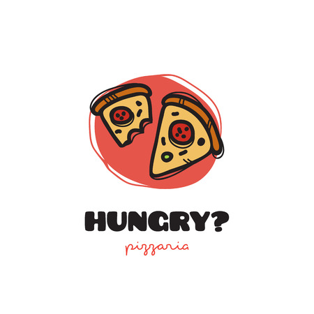 snack bar: Vector funny doodle style pizza slices icon. Sketchy snack bar and cafe icon
