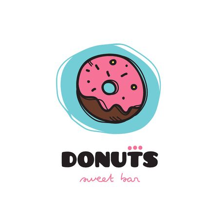 donut style: Vector funny doodle style donut icon. Sketchy cafe icon Illustration