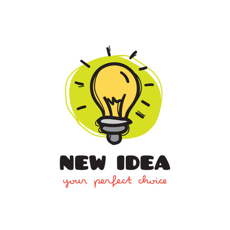 Vector funny doodle style light bulb icon. Sketchy idea icon
