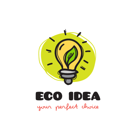 eco icon: Vector funny doodle style light bulb eco icon. Sketchy eco company icon Illustration