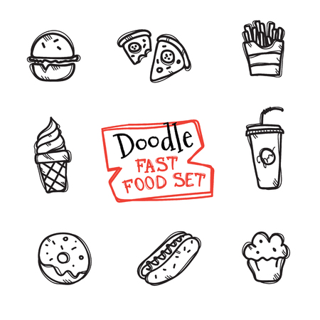 doodle style fast food set. Cute hand drawn collection of fast food objects Illusztráció