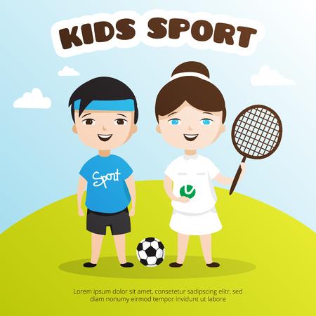 junior soccer: cute cartoon style kids sport illustration. Children sport school poster