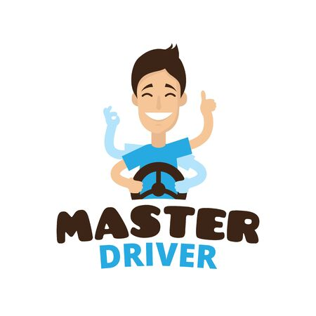 car driver: cute cartoon style mascot driver school. Guru teen driver