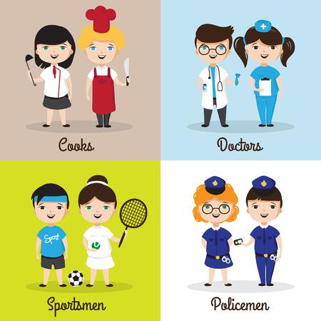 girl tennis: illustrations of cute cartoon kids in different professions. Children future professions design templates Illustration
