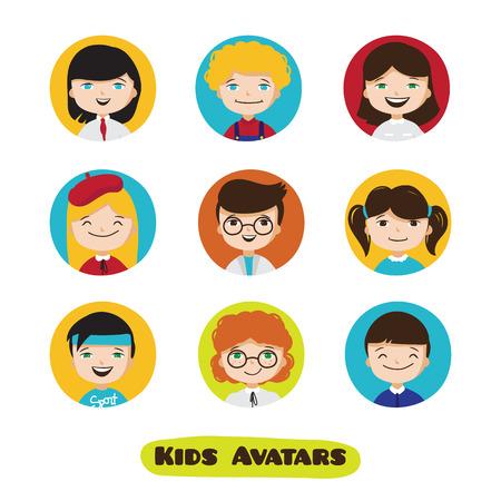 school kit: cute cartoon kids user avatars set. Children faces collection.