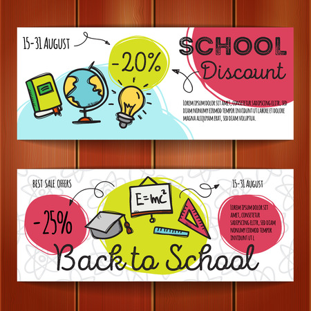 discount store: set of discount coupons for school accessories. Colorful doodle discount voucher templates. Back to school store promo offer cards.