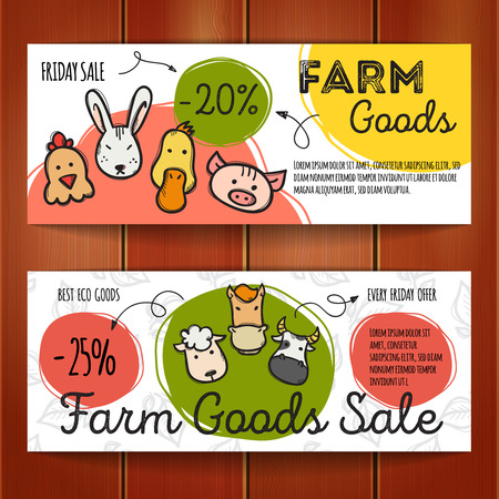 cartoon hare: set of discount coupons for eco farm goods. Colorful doodle discount voucher templates. Farm products store promo offer cards.