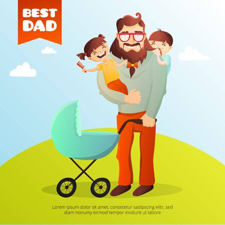 father daughter: Father Day concept. Illustration with happy family father, daughter, son and small baby in the cradle. Hipster man with his children.