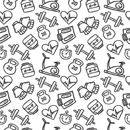 seamless pattern with sport objects. Fitness accessories seamless background in trendy doodle style.