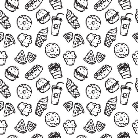 seamless pattern with fast food objects. Junk food and sweets seamless background in trendy doodle style.