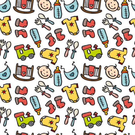 romper: seamless pattern with baby objects. Newborn clothes and accessories seamless background in trendy doodle style Illustration
