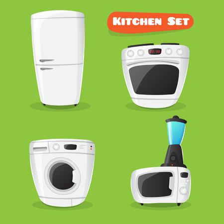 washing: kitchen appliance collection. Fridge, stove, microwave oven, washing machine and mixer funny icons in cartoon style