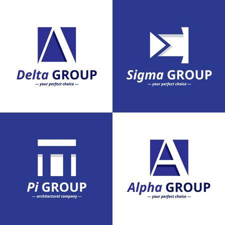 minimalistic: minimalistic negative space greek letters icon collection