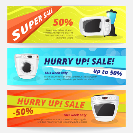 house clearance: electronics discount voucher templates. Bright sale banners with kitchen appliances.