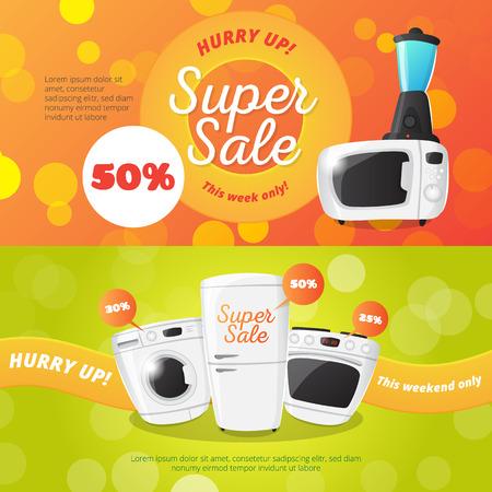 discount banner: electronics discount voucher templates. Bright sale banner with kitchen appliances.