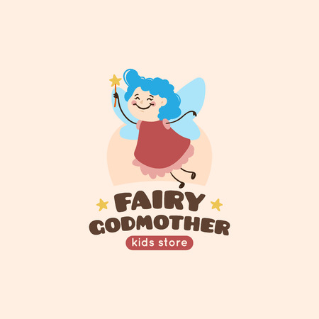 godmother: cartoon fairy godmother . Cute mascot baby store symbol.