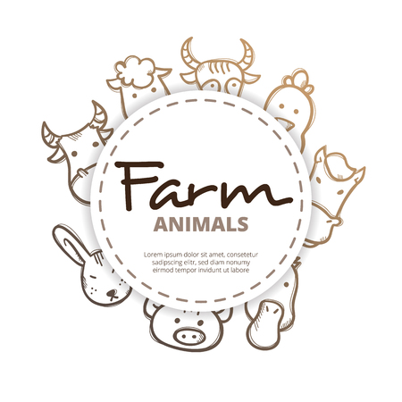 farm animals icons: farm animals icons circle composition. Farm life design concept in doodle style.