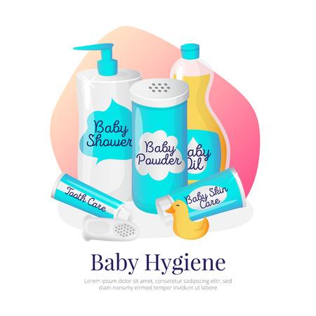 bebé ilustración productos de higiene. accesorios de recién nacidos en el estilo de dibujos animados. Champú, polvo, aceite, crema y pasta de dientes. Ilustración de vector
