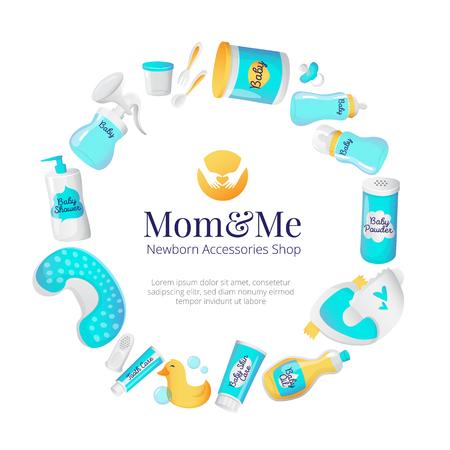 Baby-Zubehör Rahmenkonzept. Neugeborene Waren Plakatentwurf