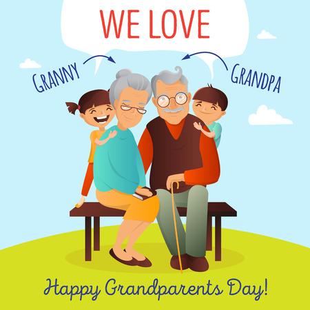 grandchildren: Grandparents Day concept. Illustration with happy family. Grandfather, grandmother and grandchildren.