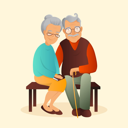 Old couple illustration. Grandfather and grandmother cute characters. Love and devotion concept.