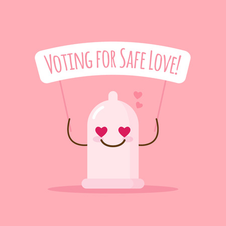 cute emoji condom with poster about safe love
