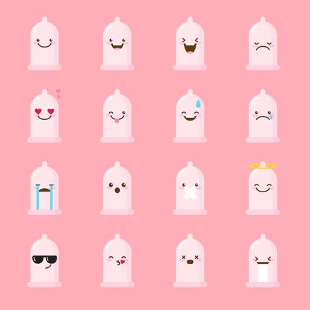 condoom emoji ingesteld. Grappige cartoon emoticons.