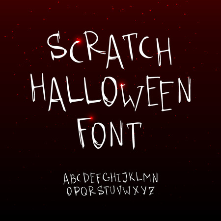 simulations: hand drawn scratchy Halloween font. Grunge style alphabet.