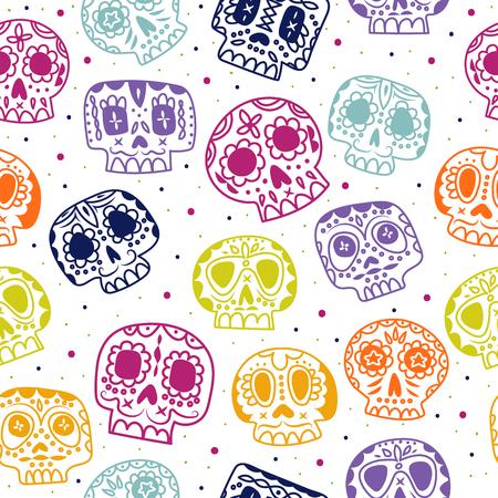 Día plana de la historieta del patrón transparente Muerto. Fondo étnico calaveras de azúcar mexicana