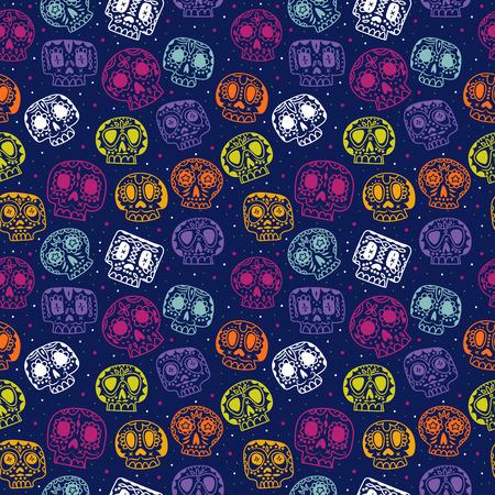 cartoon flat Dag van de Doden naadloos patroon. Etnische Mexicaanse suiker schedels achtergrond