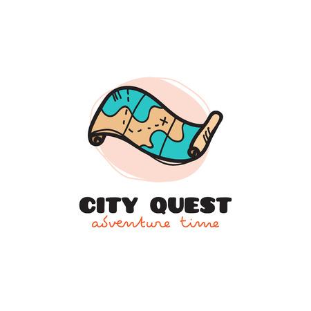 quest: doodle style treasure map. City quest sketch symbol Illustration