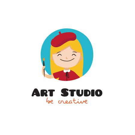 art painting: cartoon kids art studio. Girl with painting brush mascot symbol