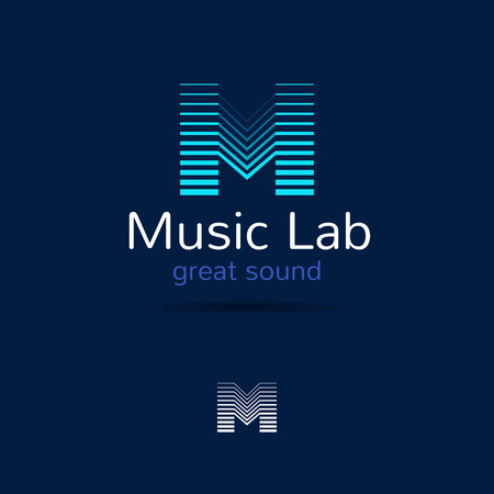 digital music: M letter music logo template. Creative equalizer music studio brand sign. Vector music production logotype. Illustration